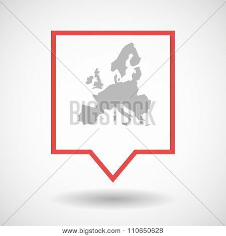 Isolated Tooltip Line Art Icon With  A Map Of Europe