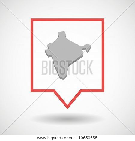 Isolated Tooltip Line Art Icon With  A Map Of India