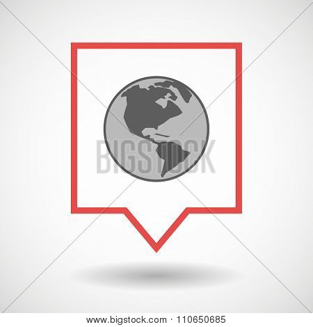 Isolated Tooltip Line Art Icon With An America Region World Globe