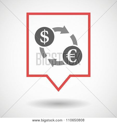 Isolated Tooltip Line Art Icon With A Dollar Euro Exchange Sign