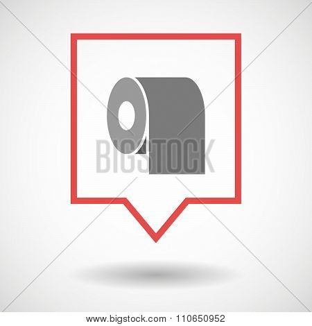 Isolated Tooltip Line Art Icon With A Toilet Paper Roll