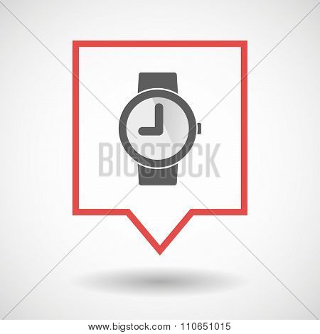 Isolated Tooltip Line Art Icon With A Wrist Watch