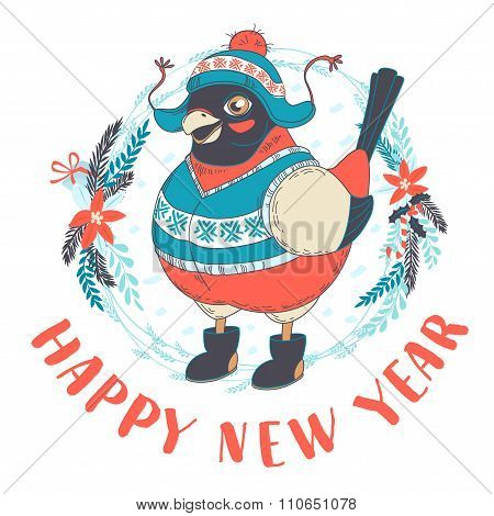 Festive Funny Happy New Year card with bullfinch bird wearing ca