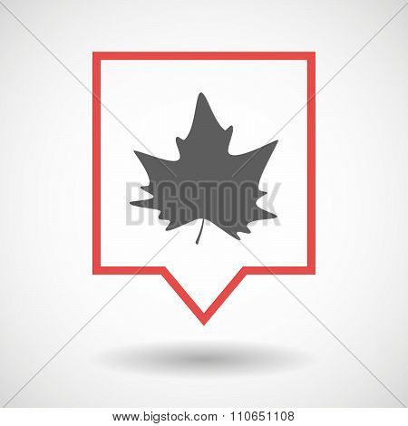 Isolated Tooltip Line Art Icon With An Autumn Leaf Tree