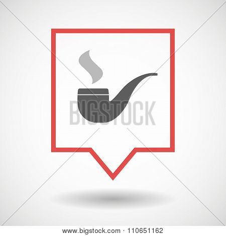 Isolated Tooltip Line Art Icon With A Smoking Pipe