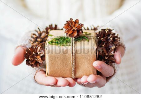 Woman In Knitted Sweater Holding A Present. Gift Is Packed In Craft Paper With Pine Cones