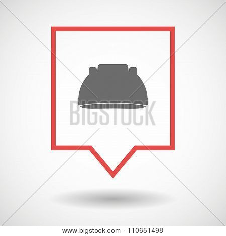 Isolated Tooltip Line Art Icon With A Work Helmet