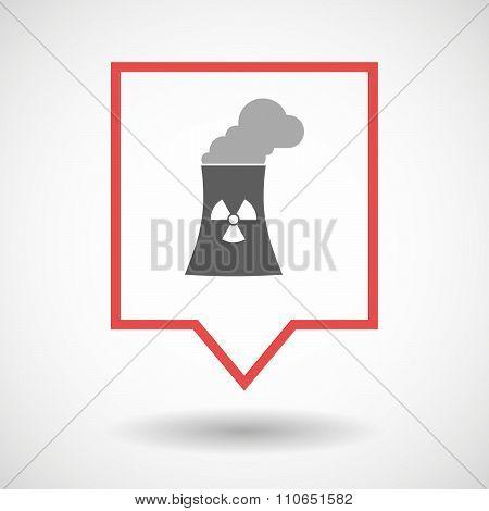 Isolated Tooltip Line Art Icon With A Nuclear Power Station