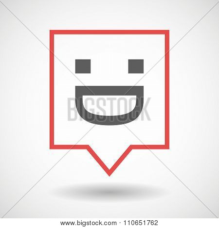 Isolated Tooltip Line Art Icon With A Laughing Text Face
