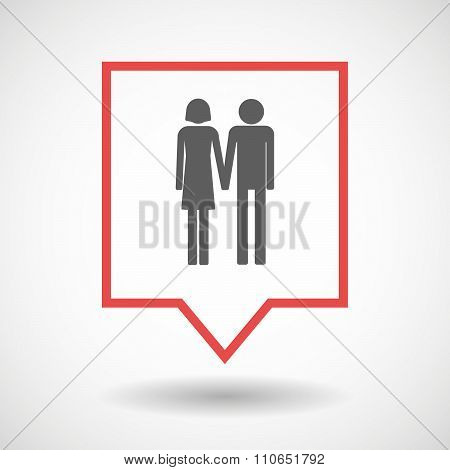Isolated Tooltip Line Art Icon With A Heterosexual Couple Pictogram