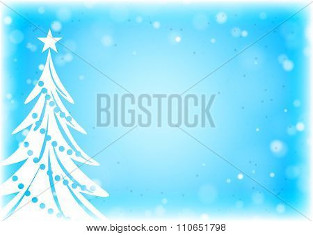 Abstract white Christmas Tree silhouette on the blue background with lights