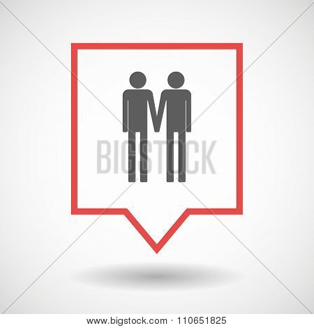 Isolated Tooltip Line Art Icon With A Gay Couple Pictogram
