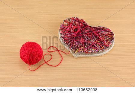 Panel Heart In Style String Art