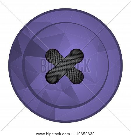 Vector Purple Polygonal Sewing Button With Sewing Threadv