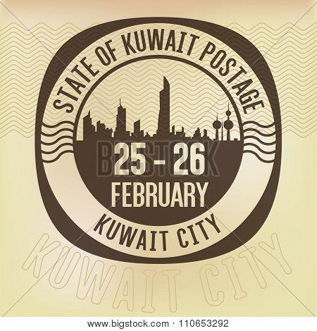 State Of Kuwait Retro Postage