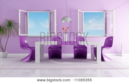 Purple Bright Dining Room