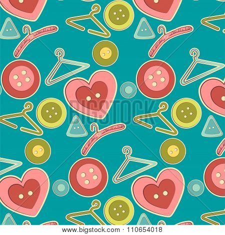 Abstract pattern with coat hangers and buttons. Vector illustration