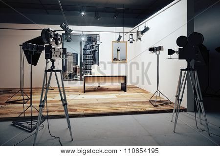 Film Studio With Camera And Movie Equipment