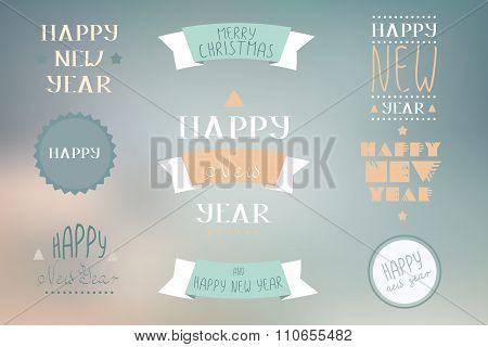 Christmas Decoration Vector Design Elements. Merry Christmas And Happy Holidays Wishes.typographic