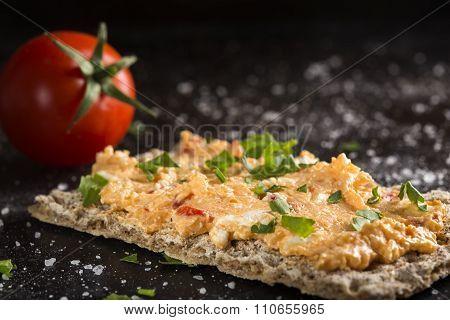 Crispbread With Pepper Cream Cheese