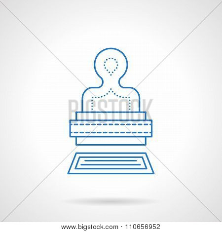 Stamp blue flat line vector icon