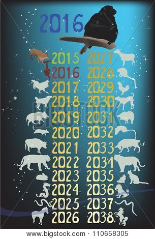 illustration with set of horoscope animals on dark background