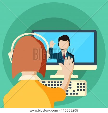Web conferences meetings and seminars flat illustration