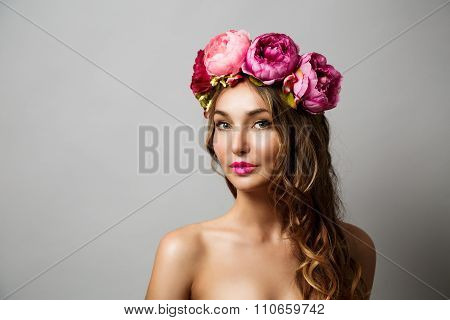 Woman with Wreath of Pink Flowers