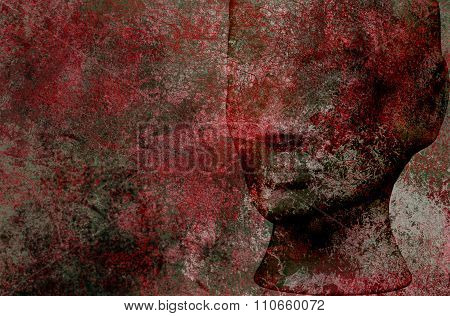 Human Head Of Black And Red Iron Grunge Texture