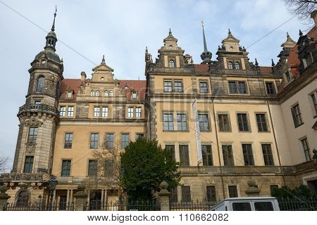 South-western Corner Of Dresden Castle In Winter Day, Saxony, Germany.