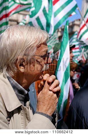 MILAN, ITALY, Piazza della Scala, 21 April 2012. Meeting of Italian Trade Unions Lombardy.