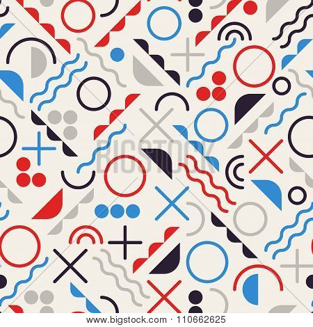 Vector Seamless Retro Jumble Geometric Line Shapes Blue Red Color Hipster Pattern On Grey