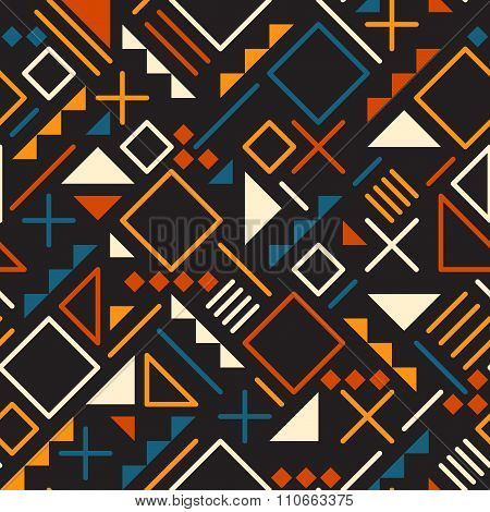 Vector Seamless Retro 80's  Jumble Geometric Line Shapes Tela Orange Color Pattern On Black Back