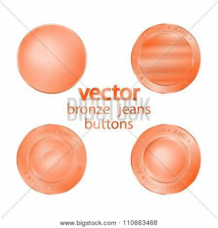 4 Bronze  Vector Jeans Buttons