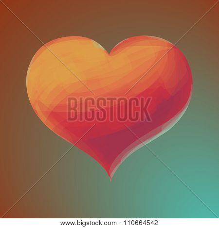 Valentines day postcard with a heart