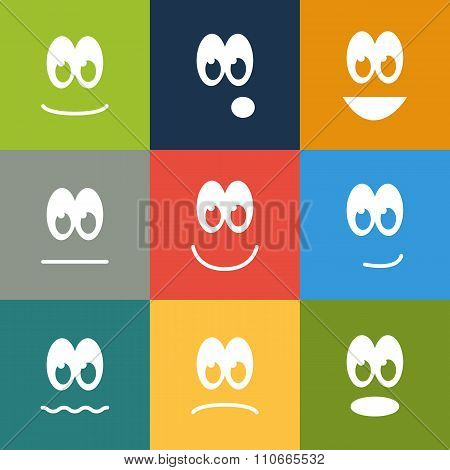 Set Of 9 Square Emoticons In Solid Colors