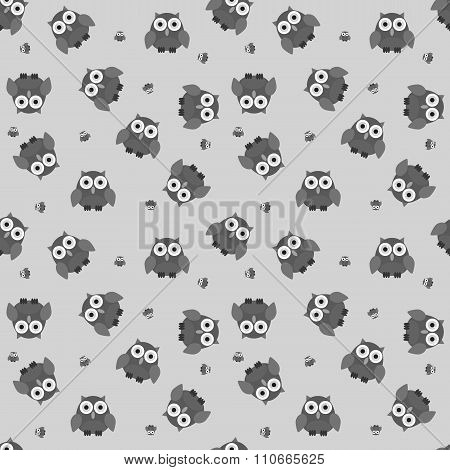 Seamless Cartoon Owl Pattern In Greyscale