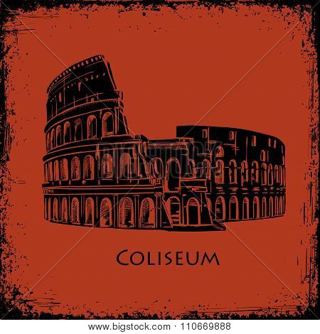 Coliseum in Rome, Italy. Colosseum hand drawn vector illustration, the style of ancient vase paintin