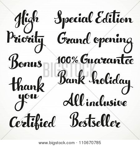 High Priority, Spesial Edition, All Inclusive... Inscription On A White Background