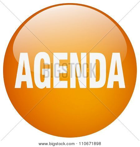 Agenda Orange Round Gel Isolated Push Button