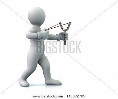 Man Aiming Slingshot