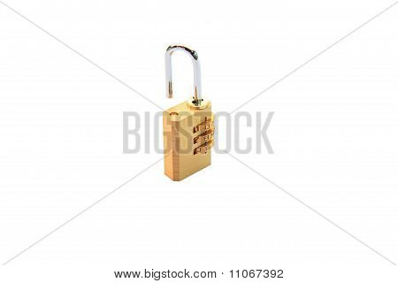 open metallic numeric padlock isolated on white