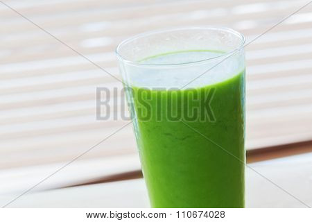 Fresh juice from green vegetables and fruits. Healthy organic and refreshing drink full of vitamins.