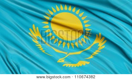 3D Kazakh flag with fabric surface texture