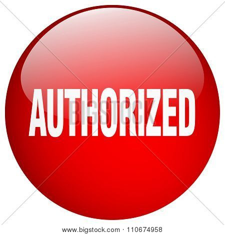 Authorized Red Round Gel Isolated Push Button