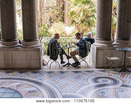 Diners In The Courtyard Of The Petit Palais, Paris