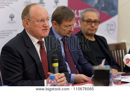 ST. PETERSBURG, RUSSIA - DECEMBER 3, 2015: Vice-Governor of St. Petersburg Vladimir Kirillov (left) during the press conference devoted to preparations for St. Petersburg International cultural forum