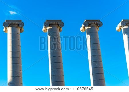 BARCELONA, SPAIN - MARCH 27, 2015: The Columns part of the MNAC.  Famous sculptures created by Josep Puig i Cadafalch on the place in front of Spanish Museu Nacional d'Art de Catalunya