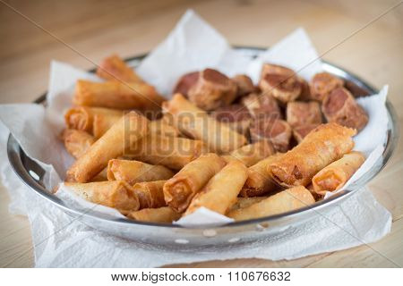 Deep Fried Spring Rolls And Deep Fried Chicken Rolls