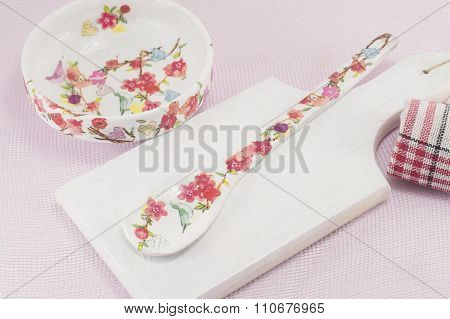 Decoupage Decorated Kitchen Tools With Flower Pattern